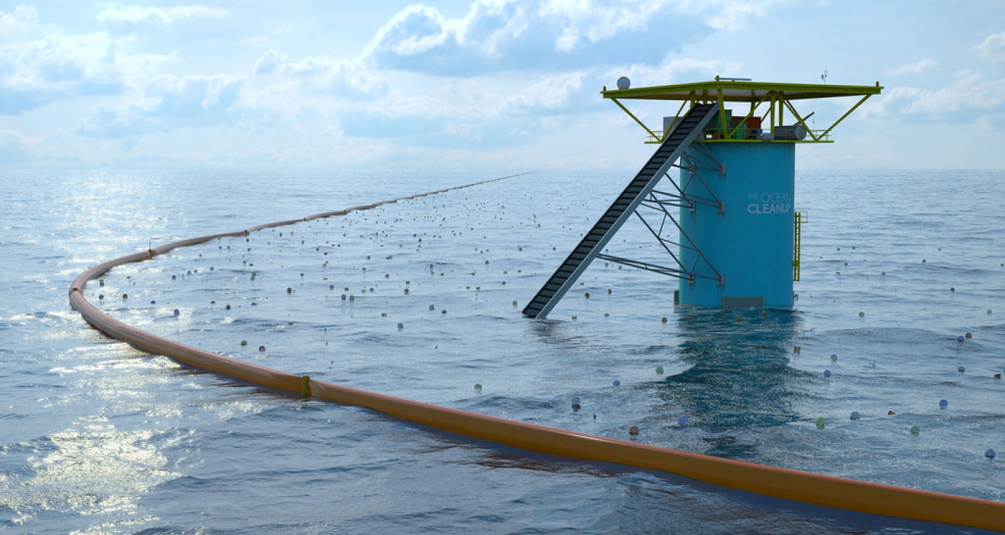 海洋吸塵器(Ocean Cleanup Array)示意圖。